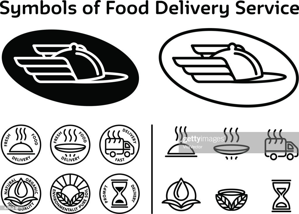 Set of black signs, icons for service of fast delivery, ecologically, tasty food. Wings - symbol of Hermes - God of trade, associated with stylized dish, courier cap. Vector, isolated on background.