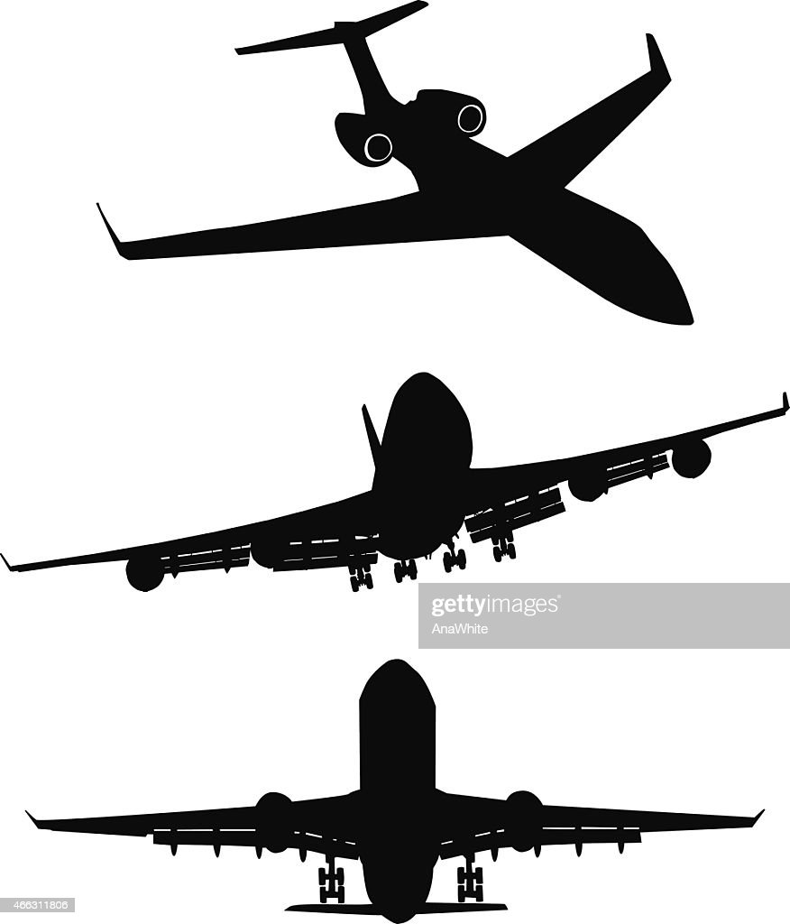 Set of black silhouette three airplanes