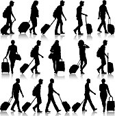 Set of black silhouette travelers with suitcases