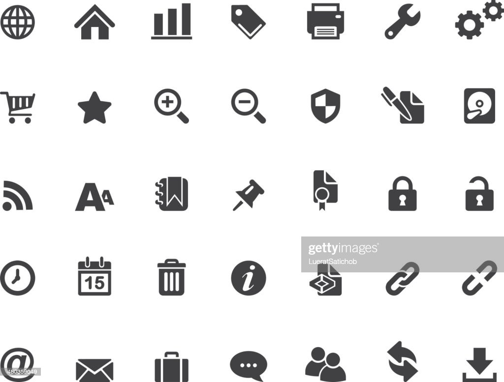 Set of black silhouette web icons