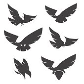 Set of black silhouettes of graceful flying eagles.
