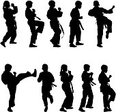 Set of black silhouettes of karate
