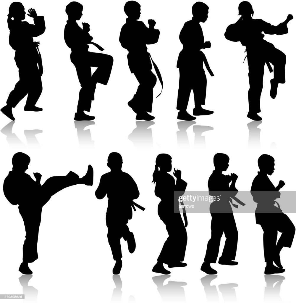 Set of black silhouettes of karate.