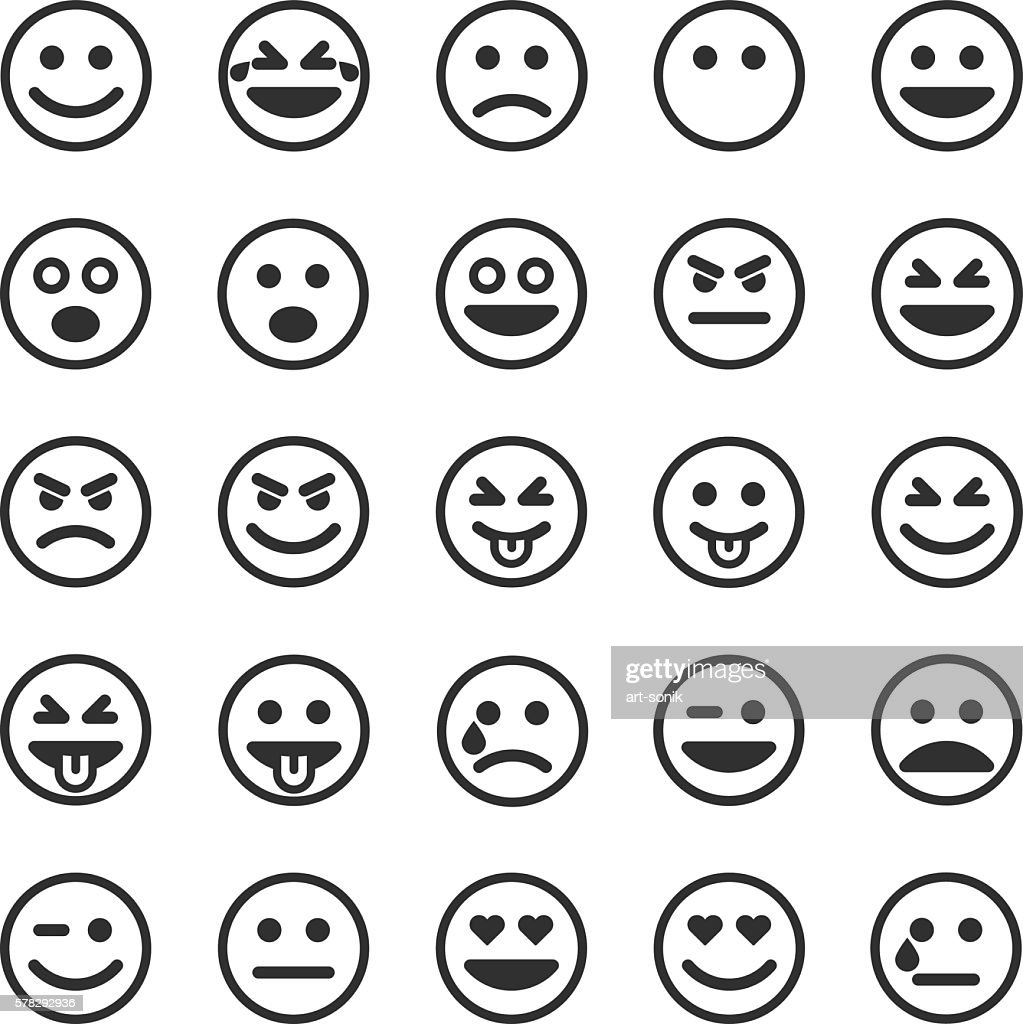 Set of black smileys