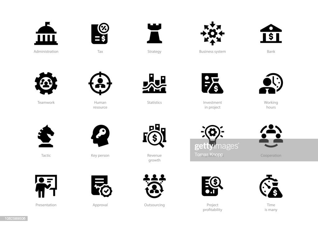 Set of black solid business icons