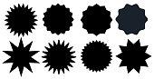 Set of black starburst stamps on white background. Badges and labels various shapes.  Vector illustration