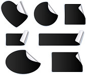 Set of black stickers - silver foil reverse side.
