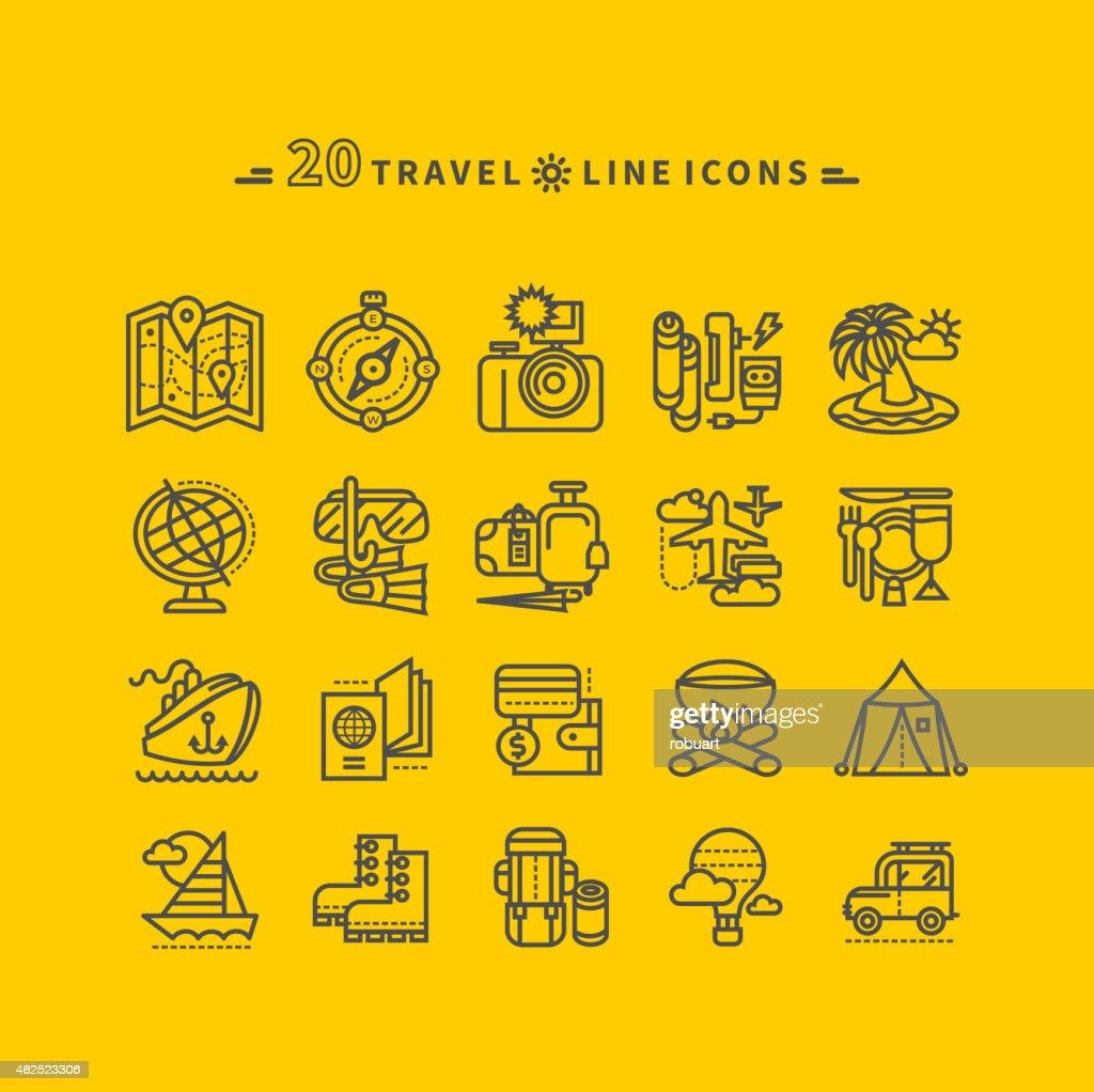 Set of Black Travel Icons on Yellow Background