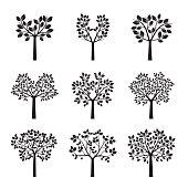 Set of black Trees. Vetor Illustration