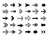 Set of black vector arrows. Arrows flat style - stock vector.