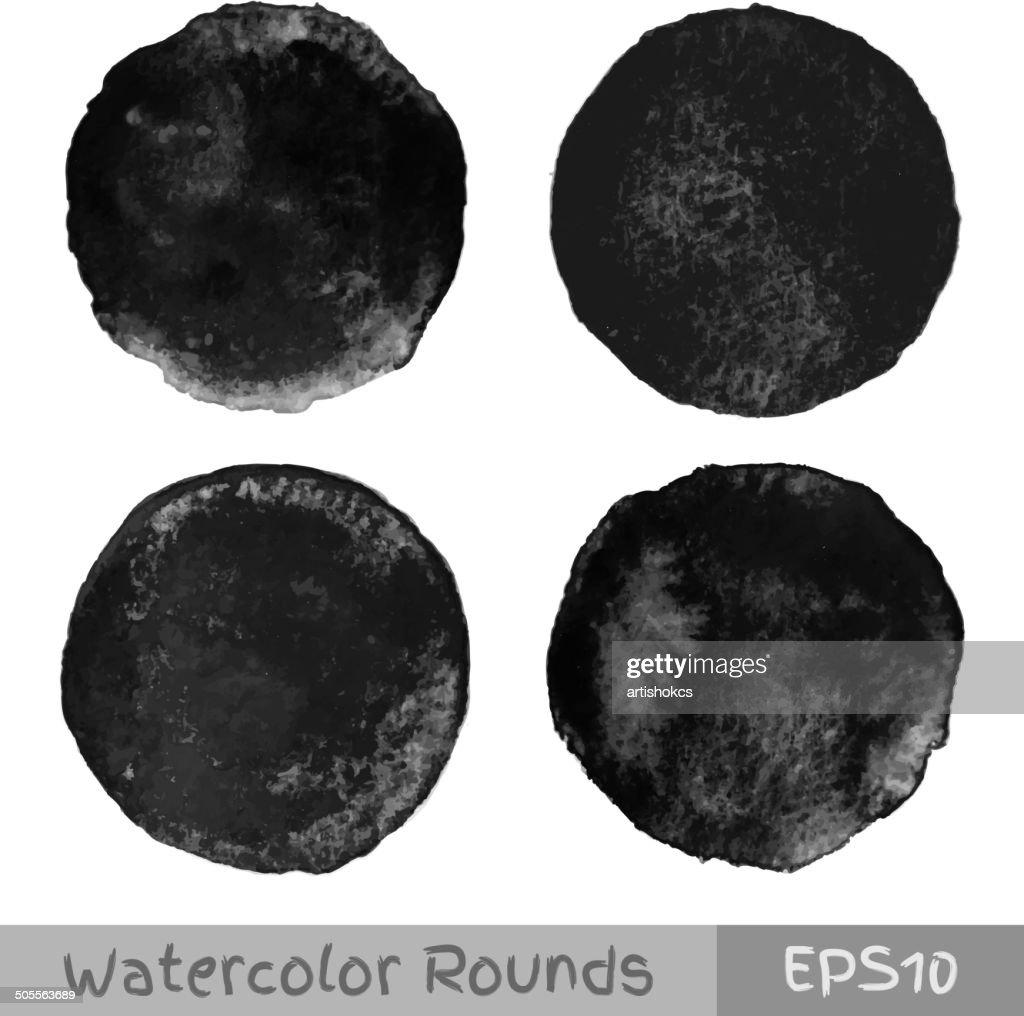Set of black watercolor circular backgrounds