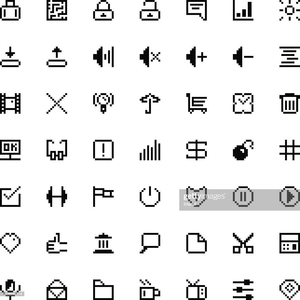 set of black web icons in pixel art
