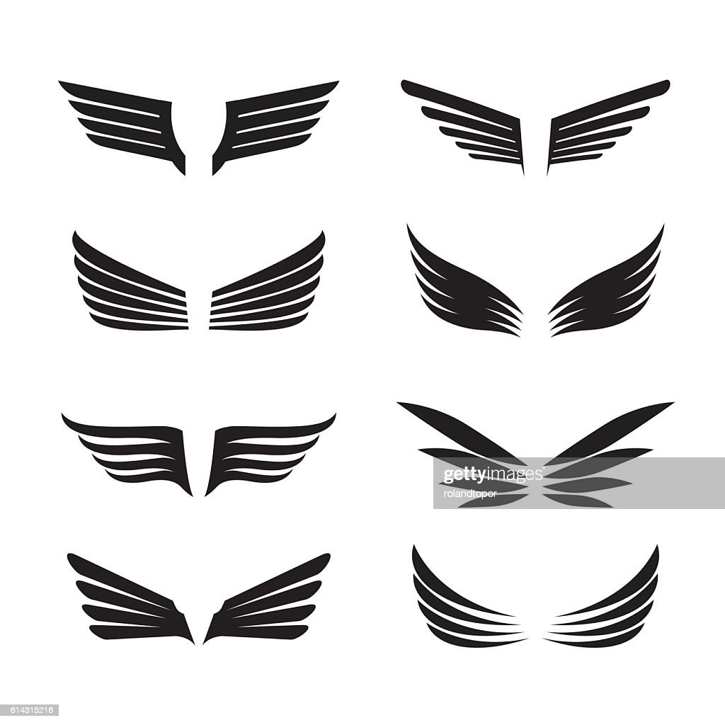 Set of Black Wings. Vector Icons.
