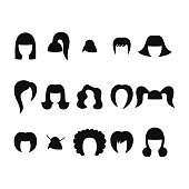 Set of black women hairstyle icons