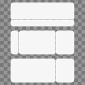 Set of blank cinema, party or concert ticket mockup template