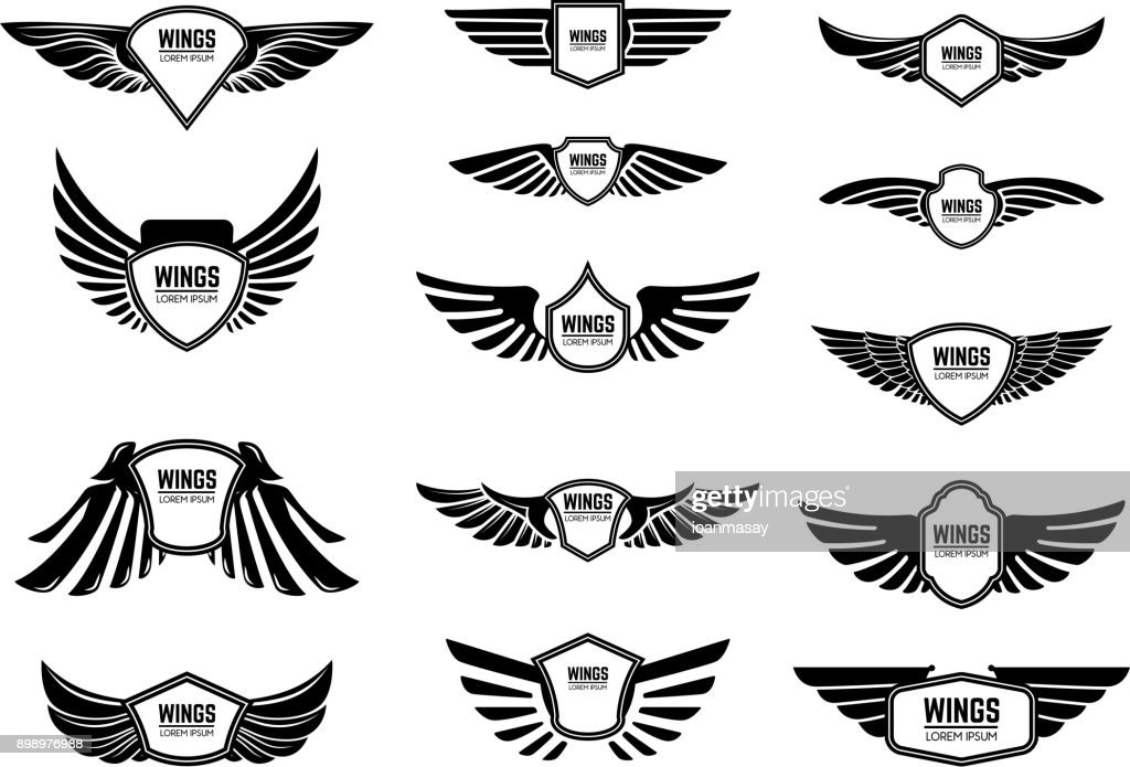 Set of blank emblems with wings. Design elements for emblem, sign, label.