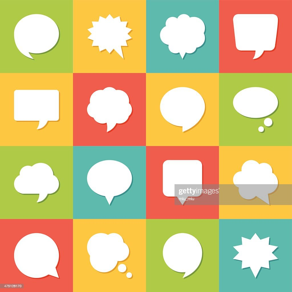 Set of blank empty white speech bubbles and dialog balloons