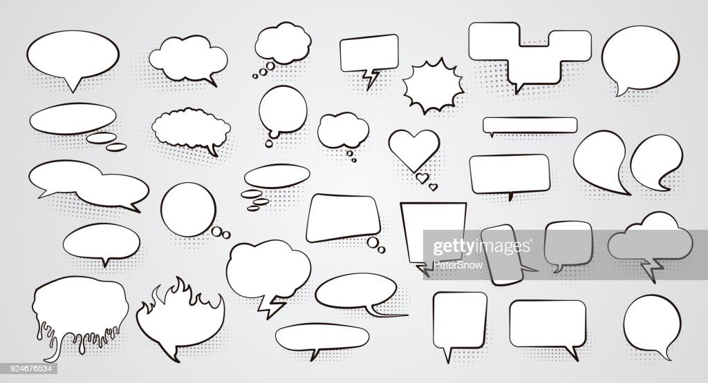 Set of blank empty white Speech bubbles with halftone shadow. Vector illustration