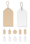 Set of blank gift box tags or sale shopping labels with rope. White paper and brown craft realistic material. Empty organic style stickers. Vector.
