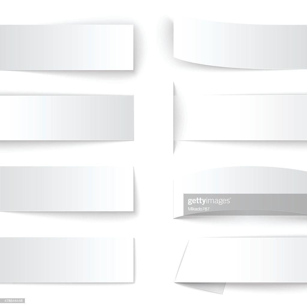 Set of blank paper banners with realistic shadows on white