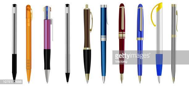 ilustrações, clipart, desenhos animados e ícones de conjunto de canetas em branco, isolado no fundo branco - caneta