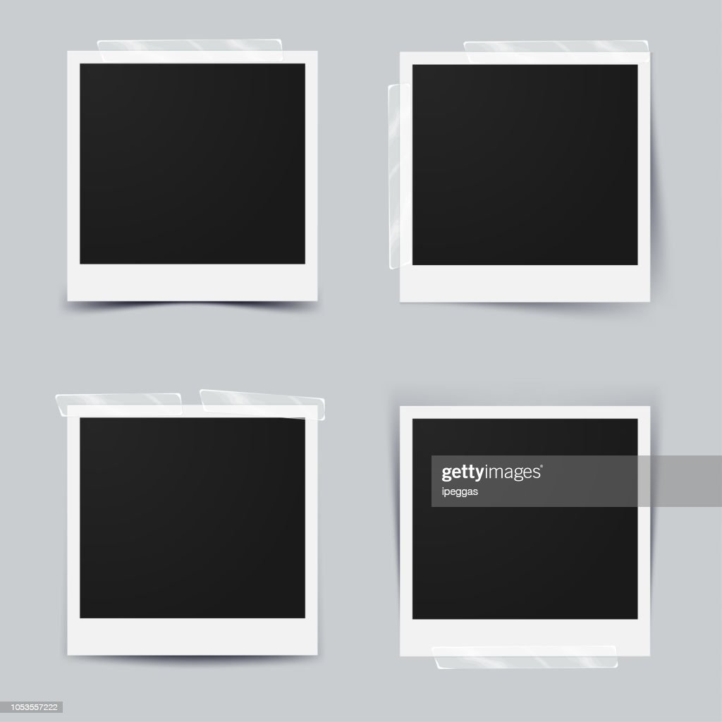 Set of blank photo frame Isolated on gray background. design for your photography and picture. Vector Illustration