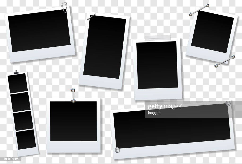 Set of blank photo frame Isolated on transparent background. design for your photography and picture. Vector Illustration