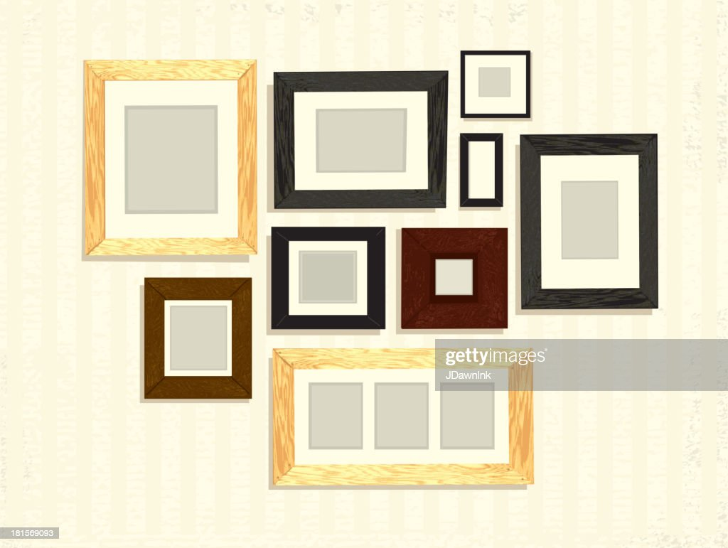ensemble de cadre photo vide sur mur d coration disposition clipart vectoriel getty images. Black Bedroom Furniture Sets. Home Design Ideas