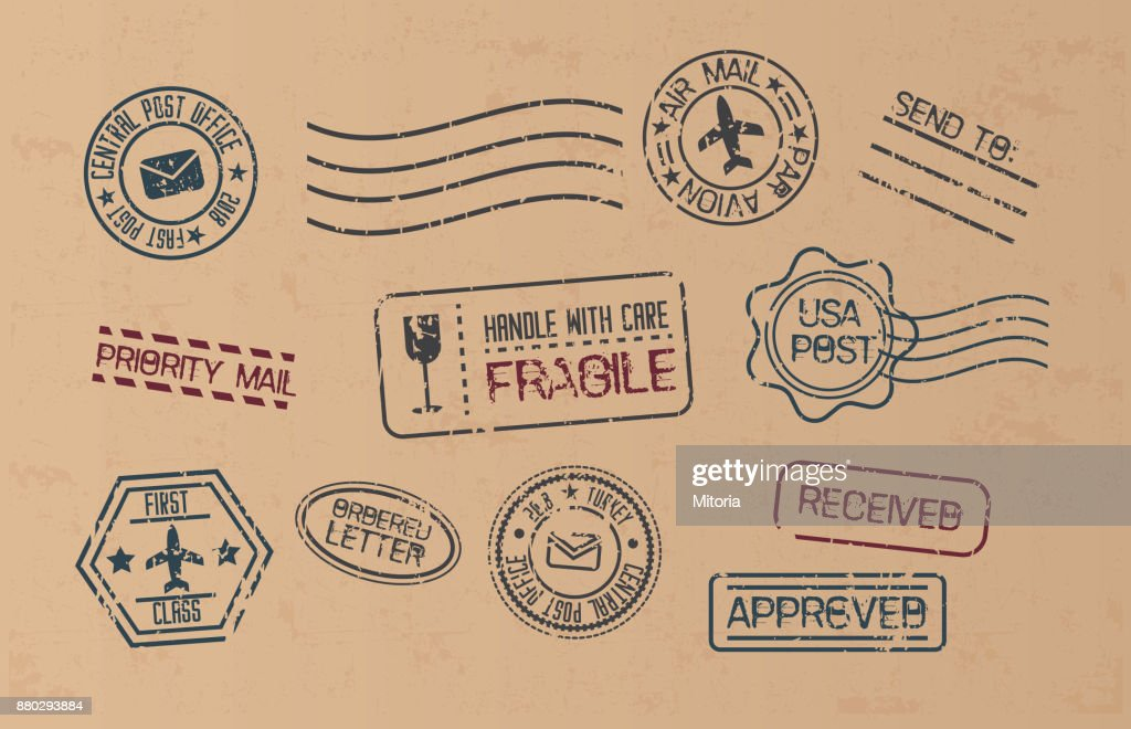 Set of Blank Postage Stamps isolated on craft Background.