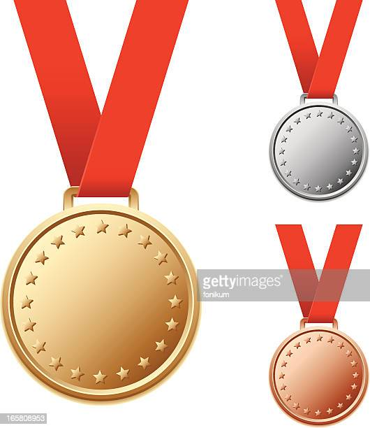 Set of blank silver and bronze medals with stars