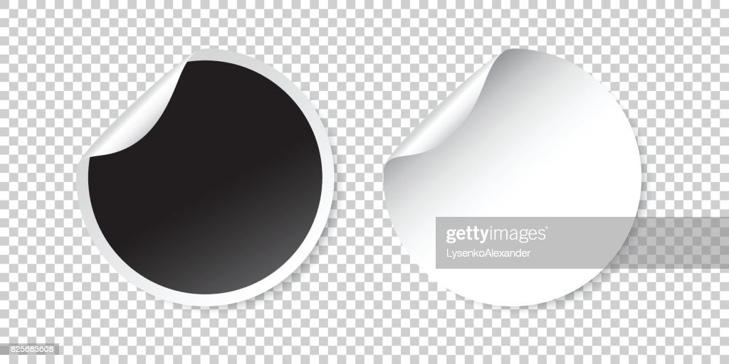 Set of blank stickers. Empty promotional labels. Vector illustration. Black and white round circle tags.