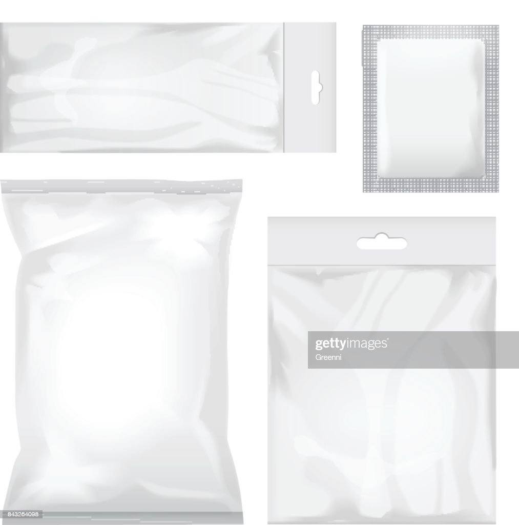 Set of blank white and transparent foil bag packaging for food, snack, coffee, cocoa, sweets, crackers, chips, nuts, sugar. Vector plastic pack mock up