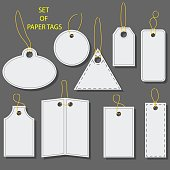 Set of blank white paper tags, labels, stickers with a barcode. Isolated elements of different shapes. Flat design.
