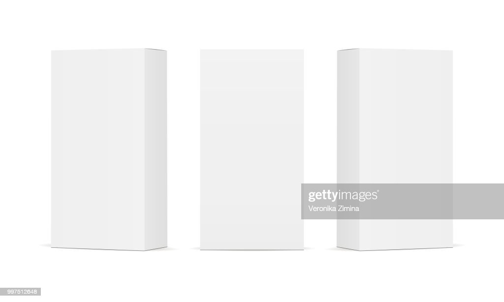 Set of blank white product packaging boxes