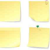 Set of Blank Yellow Sticky Notes