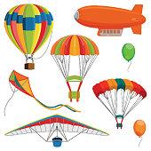 Set of blimp, paraglider and kite, air balloon and parachutes realistic vector