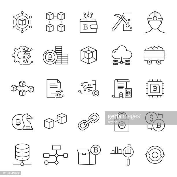 set of blockchain related line icons. editable stroke. simple outline icons. - blockchain stock illustrations