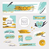 Set of blog design elements kit. Frames, dividers,