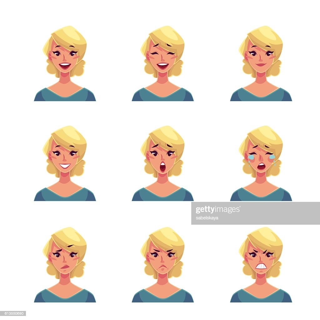 Set of blond woman face expression avatars