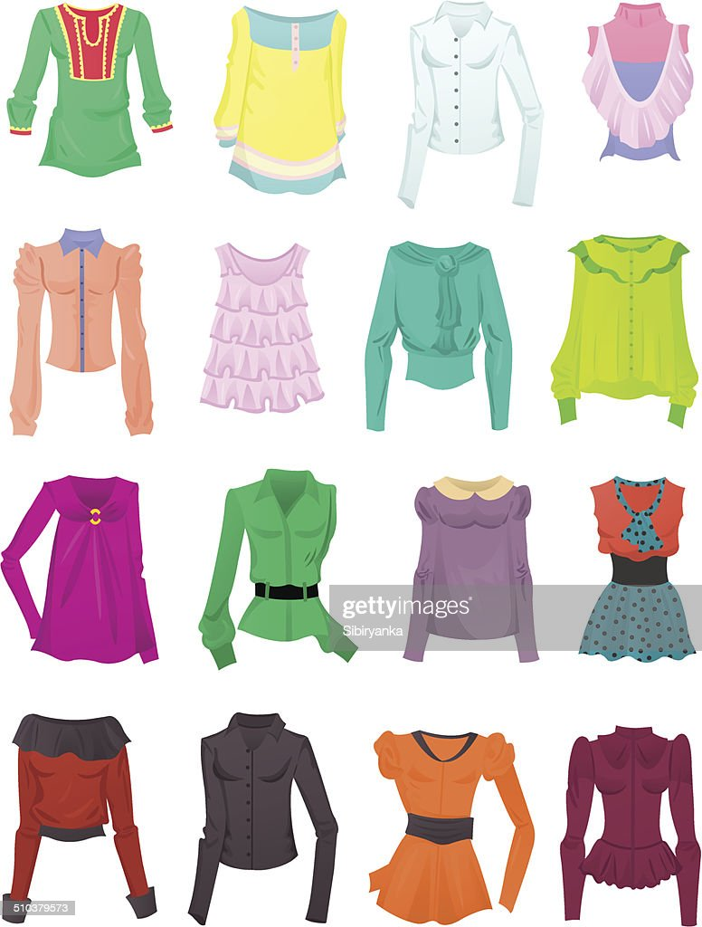 Set of blouses and tops