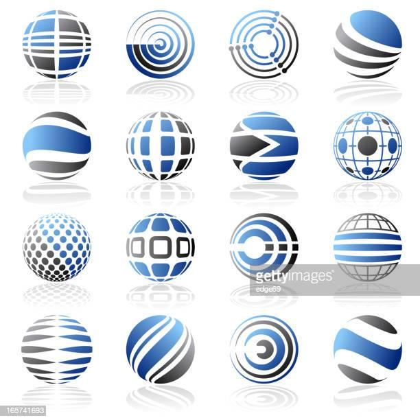 Set of blue and black abstract design elements on white
