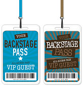 Set of blue and brown Backstage Pass template designs