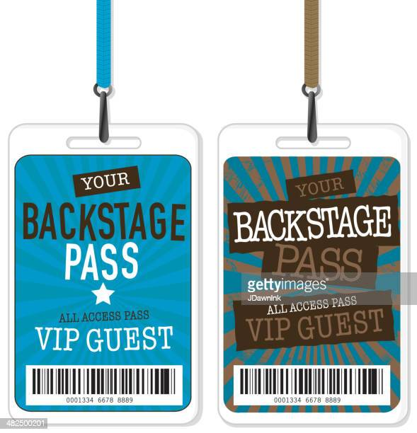 set of blue and brown backstage pass template designs - security pass stock illustrations, clip art, cartoons, & icons