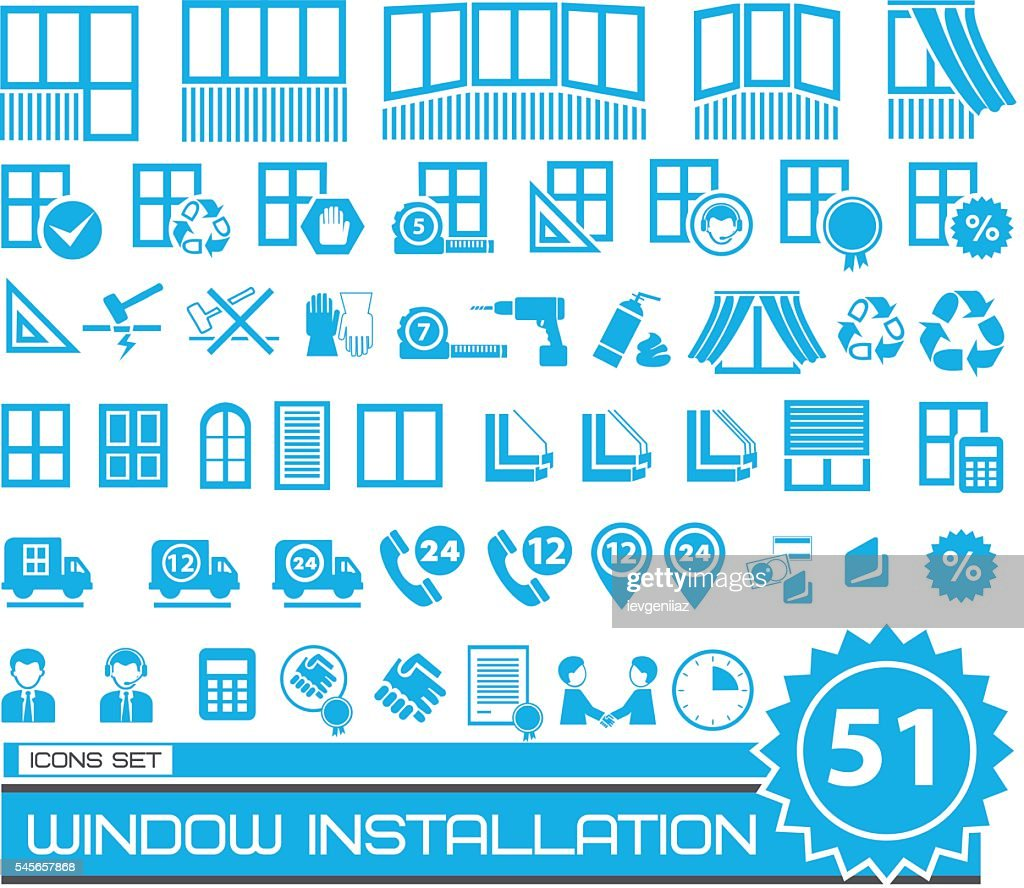 set of blue and gray repair icons