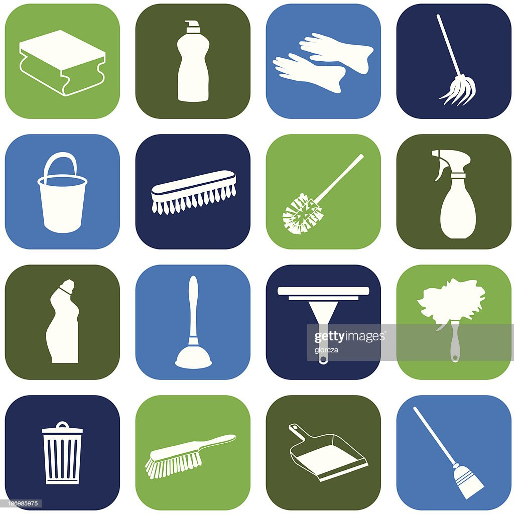 A set of blue and green cleaning icons