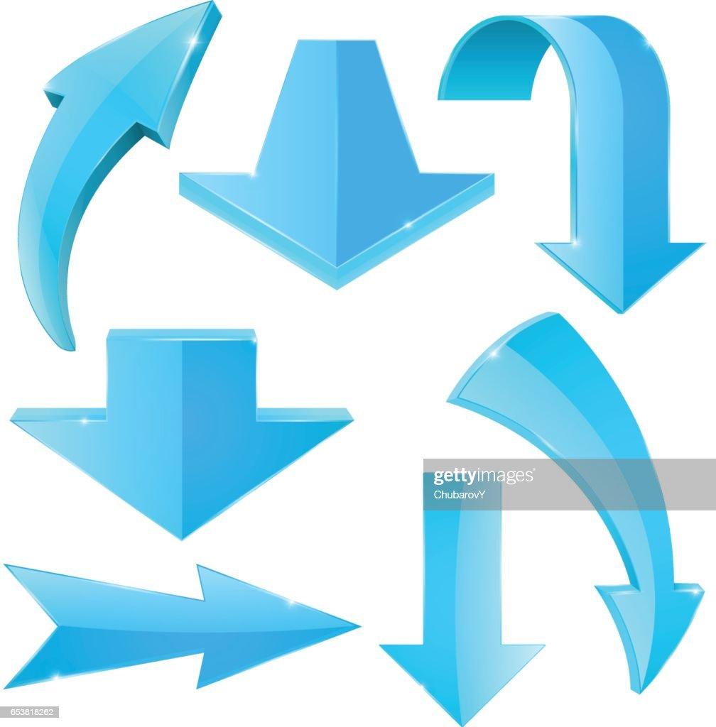 Set of blue arrow