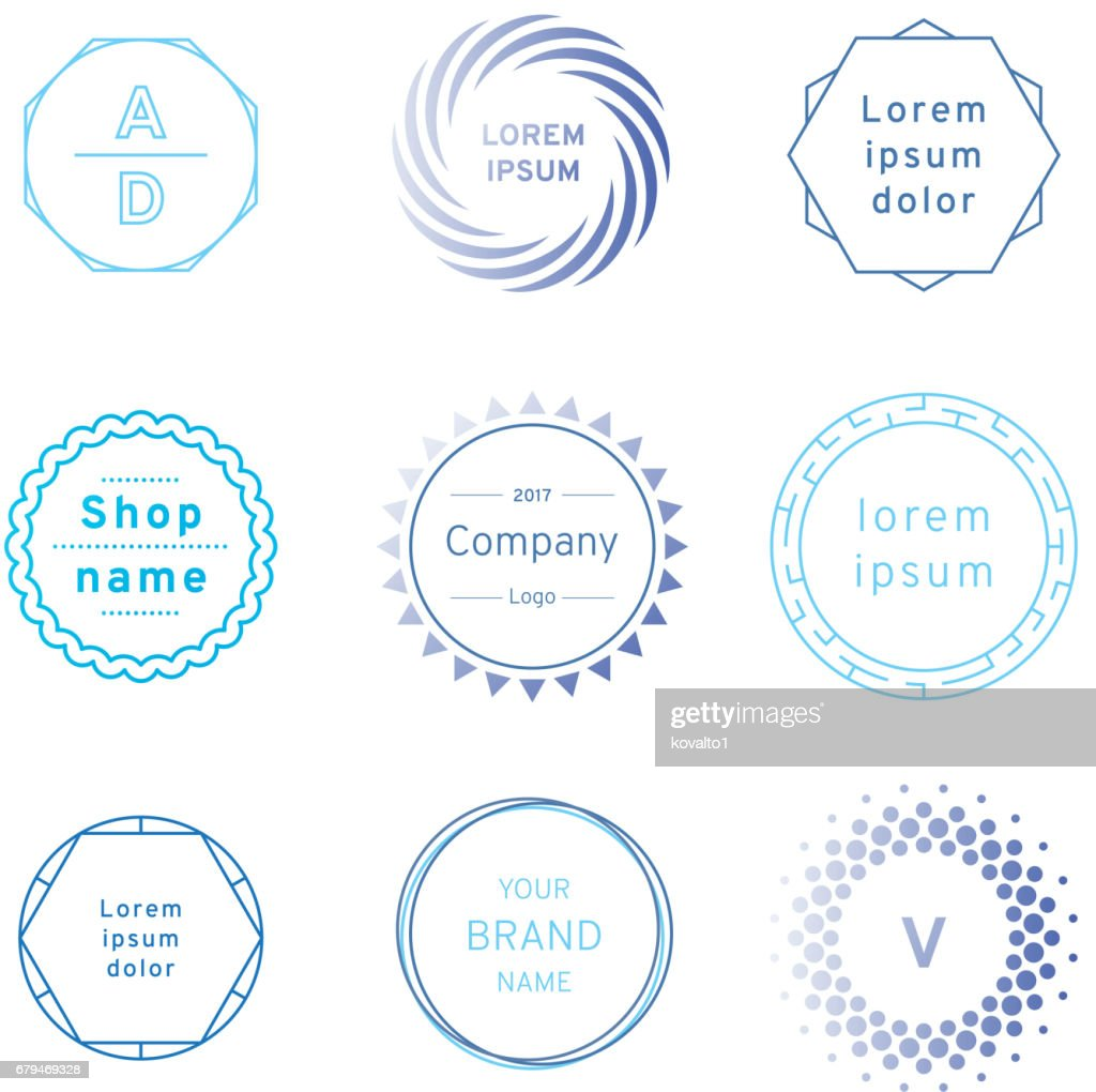 Set of blue badges and label logo graphics. Design elements, business signs, labels, logos