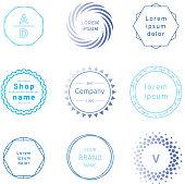 Set of blue badges and label logo graphics. Design elements, business signs, labels, logos