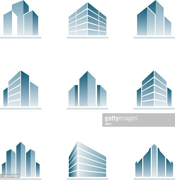 set of blue building icons - stage set stock illustrations