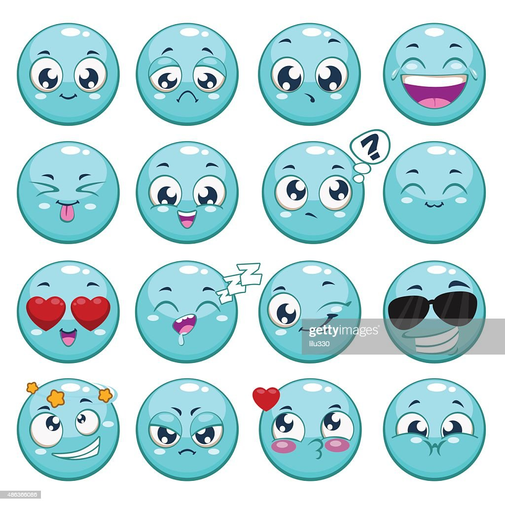 Set of blue cartoon round characters
